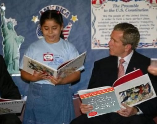 bush-reads-front-of-the-class-upside-down